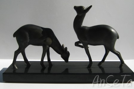 Art Deco Deer on Marble Plinth