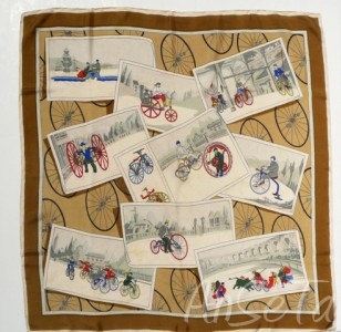 Vintage French Handrolled Silk Scarf
