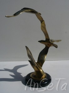 French Brass Seagull Sculpture